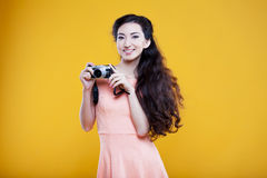 Fashion asian young  girl  photographer with Stock Photography