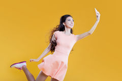 Fashion asian young  girl   taking picture of Stock Images