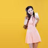 Fashion asian young  girl   taking picture of Royalty Free Stock Photography