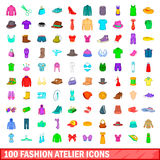 100 fashion atelier icons set, cartoon style. 100 fashion atelier icons set in cartoon style for any design illustration Stock Photography