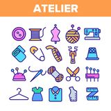 Fashion Atelier And Sewing Linear Vector Icons Set royalty free illustration