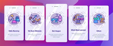 Fashion Atelier And Sewing Vector Onboarding Mobile App Page Screen stock illustration