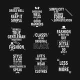 Fashion attitude quotes set. Isolated on black background Stock Image