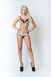 Fashion attractive blonde slim girl in lingerie Royalty Free Stock Image