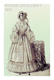 1839  fashion, Austrian magazine Wiener Zeitschrift, lady fancy Stock Image