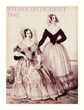 1840  fashion, Austrian magazine Wiener Zeitschrift, two ladies Royalty Free Stock Images
