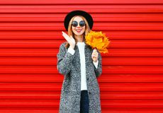 Fashion autumn cheerful woman with yellow maple leaves on red. Background Royalty Free Stock Photography
