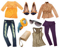 Fashion autumn clothes isolated. Stock Photo