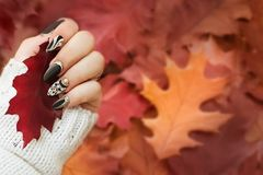 Fashion autumn nail art. Autumn background. Fashion background. stock photography