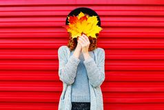 Fashion autumn portrait woman hides her face yellow maple leaves Stock Photo
