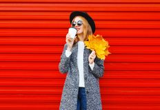 Fashion autumn woman drinks coffee holds yellow maple leaves. On red background Royalty Free Stock Images