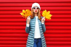 Free Fashion Autumn Woman Holds Yellow Maple Leaves On A Red Stock Images - 103843994