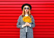 Fashion autumn young woman with red lips holds yellow maple leaves Royalty Free Stock Photography