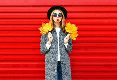 Fashion autumn young woman with red lips holds yellow maple leaves Stock Photography