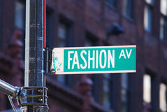 Fashion avenue in New York City. Fashion avenue road sign in New York City. Fashion Avenue gains its name due to its role as a center of the garment and fashion stock photography