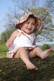 Fashion Baby. Fashionably dressed baby girl posing outside Stock Photos