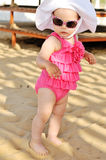Fashion baby. On the beach stock images