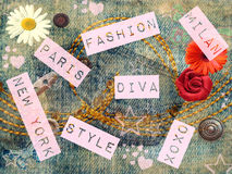 Fashion background. Fashion girly background with flowers, buttons and text Royalty Free Stock Images