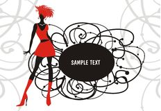 Fashion background. Vector drawing of fashion girl and art frame in modern style Stock Images