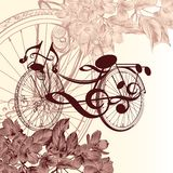 Fashion background with abstract bike with notes and flowers for Stock Photos