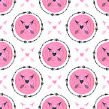 Fashion background with arrows and pink circles ornament. Geometric Print design. Tribal arrow seamless vector pattern painting te Royalty Free Stock Images