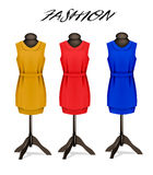 Fashion background with colorful dresses. Stock Photo