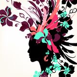 Fashion background with female face and floral hair Royalty Free Stock Photo