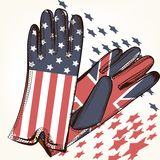 Fashion background with female gloves decorated by USA and Briti Royalty Free Stock Images