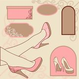 Fashion background with feminine shoe Royalty Free Stock Images