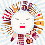 Fashion background. Flat icons collection. Decorative cosmetics Royalty Free Stock Photography