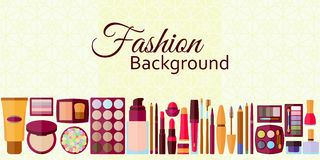 Fashion background. Flat icons collection. Decorative cosmetics Stock Images