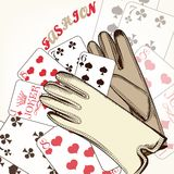 Fashion background with gloves and playing cards Stock Photo