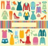 Fashion background  icons set - Illustration Royalty Free Stock Photos