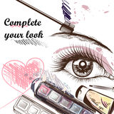 Fashion  background with make up accessories mascara and female Royalty Free Stock Image