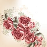 Fashion background with roses in retro style. Vector cute flowers in vintage style for design Royalty Free Stock Photo