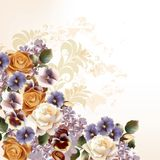 Fashion background with roses in retro style Royalty Free Stock Images