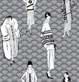 Fashion background. 1930s retro Dress  silhouette. Flapper girls (20's style) seamless pattern: Retro fashion party background. Women on runway black and white Royalty Free Stock Photos
