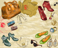 Fashion background with shoes, woman accessories a Royalty Free Stock Images