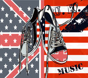 Fashion background with sports boots decorated by British and US Stock Images
