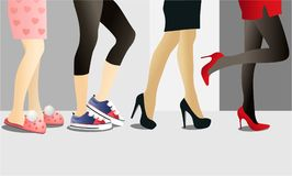 Fashion background with woman legs in shoes. Different kinds of usefull woman shoes Royalty Free Stock Photo