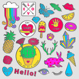 Fashion badge elements in cartoon 80s-90s comic style. Set modern trend doodle pop art sketch. Royalty Free Stock Images