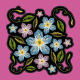 Fashion badge or patch. Embroidery knapweed with Leaves for girl. Vector design element, sticker or patches in vintage style for t-shirt or apparel. Cool print Stock Photography