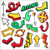 Fashion Badges, Patches, Stickers Arrows Theme. Different Arrows in Comic Style Royalty Free Stock Image