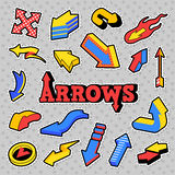 Fashion Badges, Patches, Stickers Arrows Theme. Different Arrows in Comic Style Stock Photo