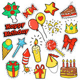 Fashion Badges, Patches, Stickers Birthday Theme. Happy Birthday Party Elements  Stock Photos