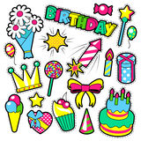 Fashion Badges, Patches, Stickers Birthday Theme. Happy Birthday Party Elements. In Comic Style with Cake, Balloons and Gifts. Vector illustration royalty free illustration