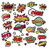 Fashion Badges, Patches, Stickers in Pop Art Comic Speech Bubbles Set with Halftone Dotted Cool Shapes Stock Images