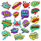 Fashion Badges, Patches, Stickers in Pop Art Comic Speech Bubbles Set with Halftone Dotted Cool Shapes Stock Photo