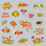 Fashion Badges, Patches, Stickers in Pop Art Comic Speech Bubbles Set with Halftone Dotted Cool Shapes. Vector Retro Background royalty free illustration