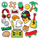 Fashion Badges, Patches, Stickers set with Hippie Elements, Skateboard, Peace Sign, Guitar in Pop Art Comic Style Stock Photo